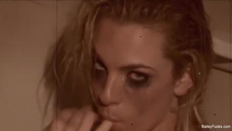 Blonde baby Dahlia Sky teases and masturbates under the shower