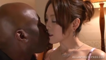 Japanese people hussy gets her pussy fingered and broken using a cardinal hunk