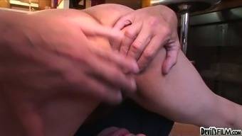 Darkish haired wild cougar Jezebel swallows sickly dick or her guy in 69 present