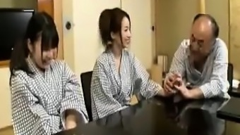 A couple of horny Japanese people girls exchange being intimate with and fucking