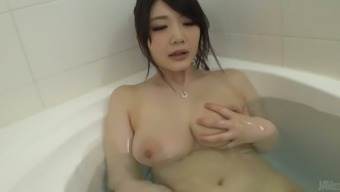 Big tits Japanese love-making toy Rie Tachikawa masturbates in wash room