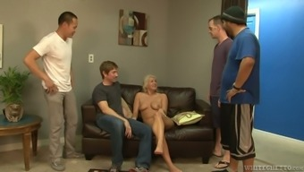 Pale nymphomaniac Layla Value is going on compnenet of ridiculous gangbang market