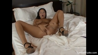 pierced Oriental england keyes on your bed together pussy performs