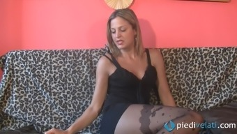 Her sexy nylons cover her warm each foot whereas he has begun back