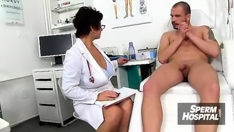Filthy czech cougar Gabina is naughty health professional in cfnm performance