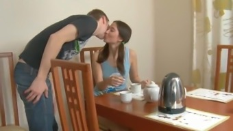 A pigtailed Offenseman teen gets cracked in a dining room
