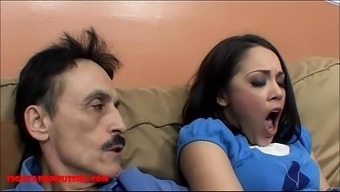 Miniscule asian teenager tight pussy gets broken by grimy old mankind and gets grandpa sperm in her own mouth