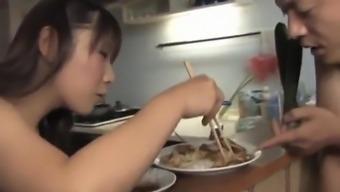 Momo Aizawa savours night meal plus some junk as desert