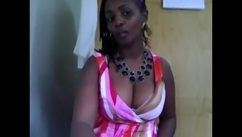 African-american MILF in workplace on webcam