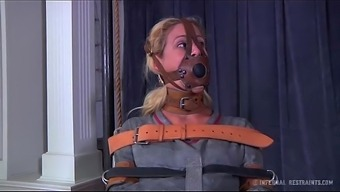 Black milf cherie deville tied gagged inside a straitjacket and mobility device smoke