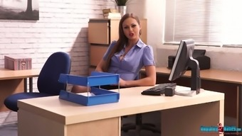 Whorish secretary Tina Kay shows striptease directly in the office