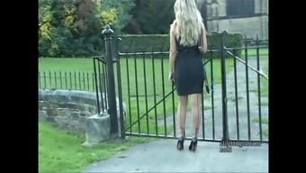 Horny blond gets out auto in high heels and designs individuals off