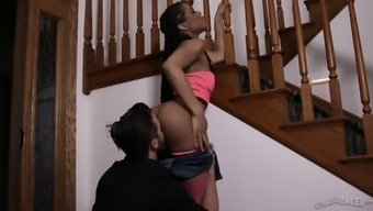White dude fucks black pussy and mouth of naughty ebony babe Kira Noir