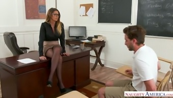 Hot teacher Brooklyn Chase giving sex lesson to her favorite student