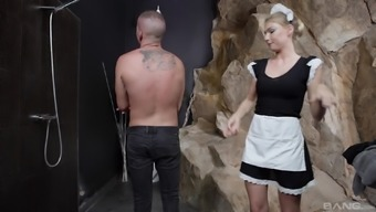 Naughty maid Lucy Heart gets face fucked by a big dick