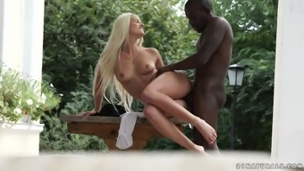 Big black cock takes care of lustful blonde Blanche Bradburry