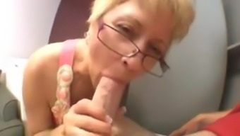 attractive granny sucks youthful cock