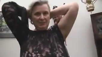 Incredibly perverted granny in stockings brushing her fuzzy twat finish off