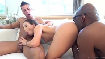 Kristy Black loving two vexatious brown boners in their gaps