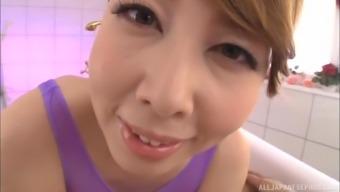 Turned on Japanese elegance Kazama Yumi throating a yummy schlong