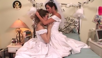 A bride has lesbian sex back with her maid of follow with her special day