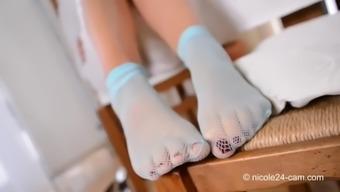attractive senior both feet