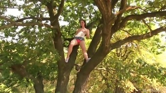 Reasonably Kristy Black two fingers her pussy outdoors while she moans