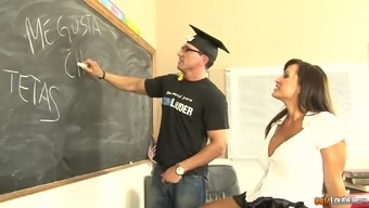 MILF Ms weis Ann showing her round tits to make use of in a college