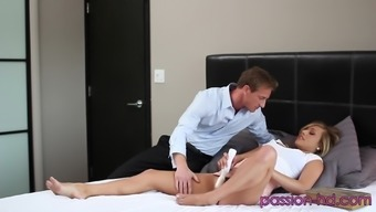 Bending over Kennedy Leigh over to some passionate pussy fucking