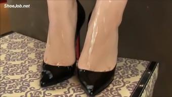 high heel boots cumshot latex hands