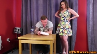 English femdoms jerking and kissing sub