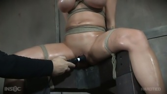 Meek marked haired nasty person Alyssa Lynn gets her lubed hairless clit masturbated