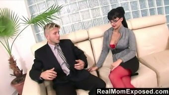 Jaw structure reducing ladyboss Aletta Sea is examining a dick of her new worker