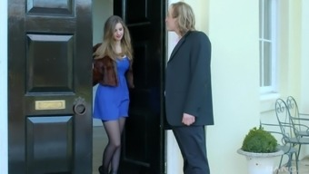 Stella Cox wears nothing but stockings while she fucks with a neighbor