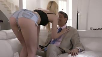 Alluring light hottie Kenna James seduces her step father