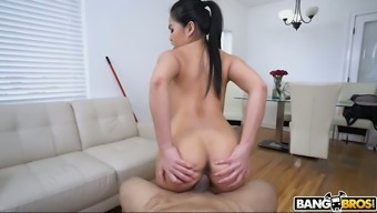 Sexy slim babe Cindy Starfall is very into leaping on stiff penis
