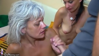 OldNanny Association Intercourse - threesome young girl along with mature sector sex