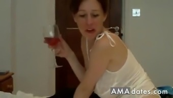 Sexy brunette wife with nice boobs satisfy herself all alone