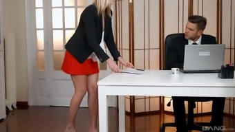 Blonde secretary Aria Logan fucked and fingered at the office