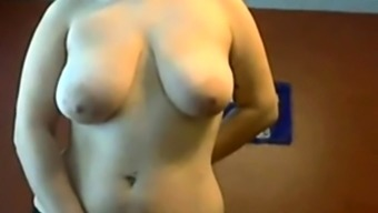 Yummy Chubby Teen playing with her big tits and pussy