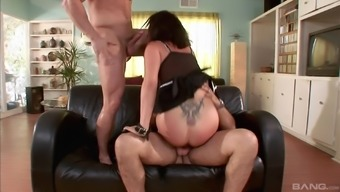 Kinky MILF Tory Lane pounded by two guys while tied up