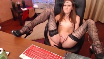 Cam doll jenny plays in stockings