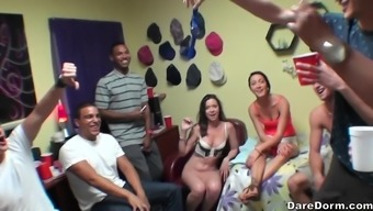 Sabrina Banks and Rose Red organize a hardcore college orgy