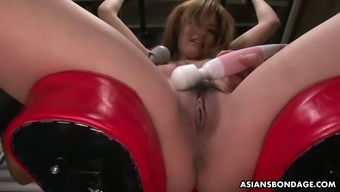 Two kinky dudes with vibrators and sex toys punish pussy of tied up Japanese babe Setsuna