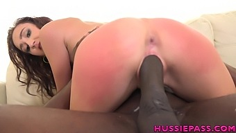 Sexy white hottie Carmen Rae gives black stud a good ride on top