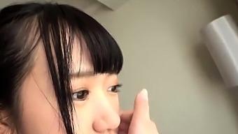 Shy pretty asian harlot got her tight hairy asian pussy