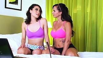 Catalina Cruz doing yoga with Raven Rockette lesbian sex