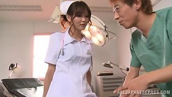 Horny nurse Nono Mizusawa knows how to suck a hard dick properly