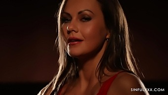 Hot pornstar Tina Kay drops her lingerie and pleasures her cunt