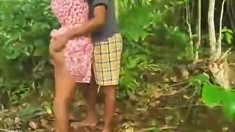 Sri Lankan village couple in jungle